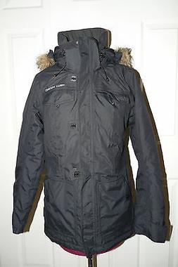 Helly Hansen Faux Fur Hood Trim Parka Jacket Coat Black Wome