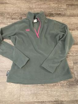 Helly Hansen Polartec Green Pink 1/4 Zip Fleece Pullover Jac